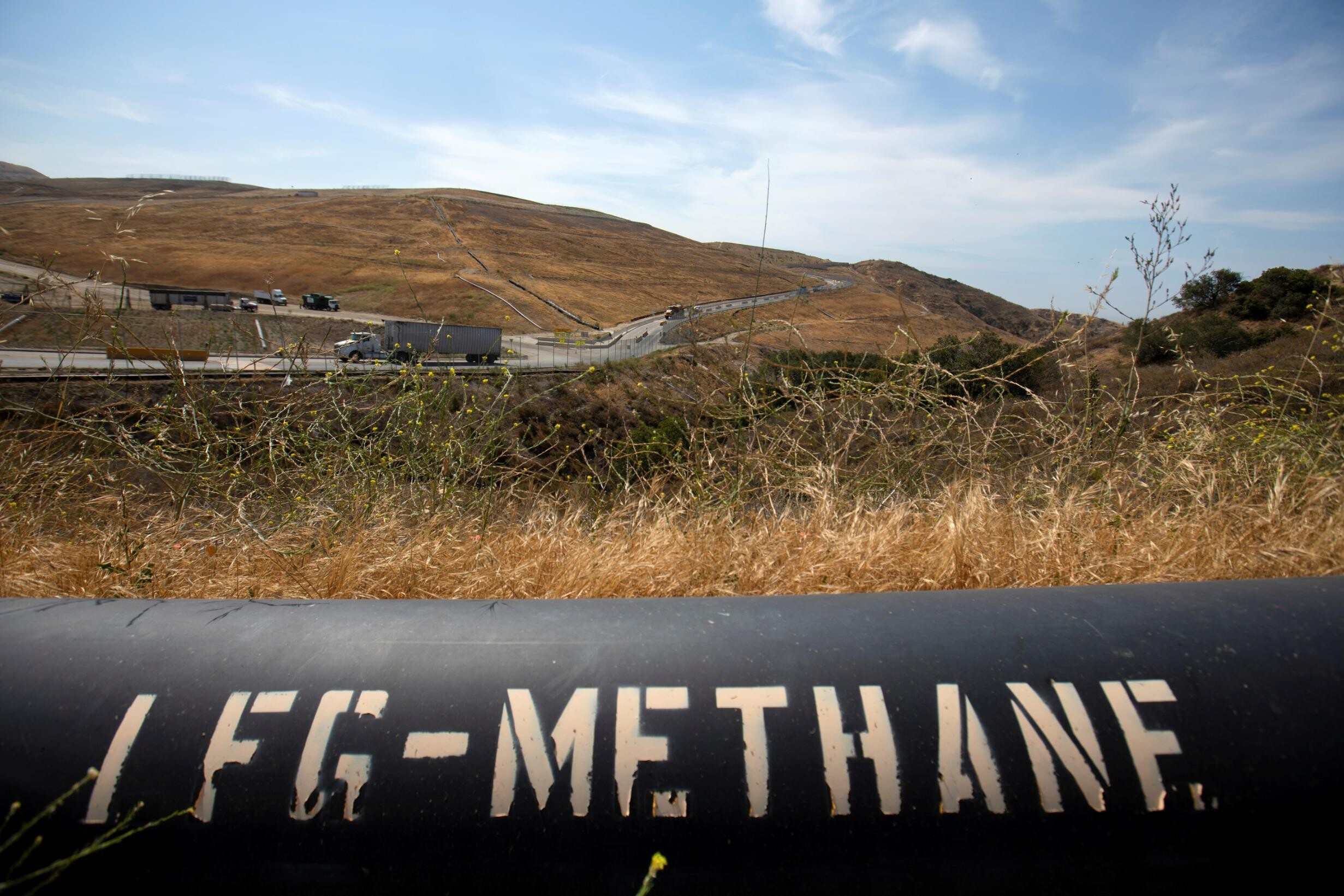 <i>Mike Blake/Reuters</i><br/>The United States and European Union will announce on Friday a global pledge to reduce emissions of methane. Pictured is a pipeline that moves methane gas from the Frank R. Bowerman landfill to a power plant in Irvine