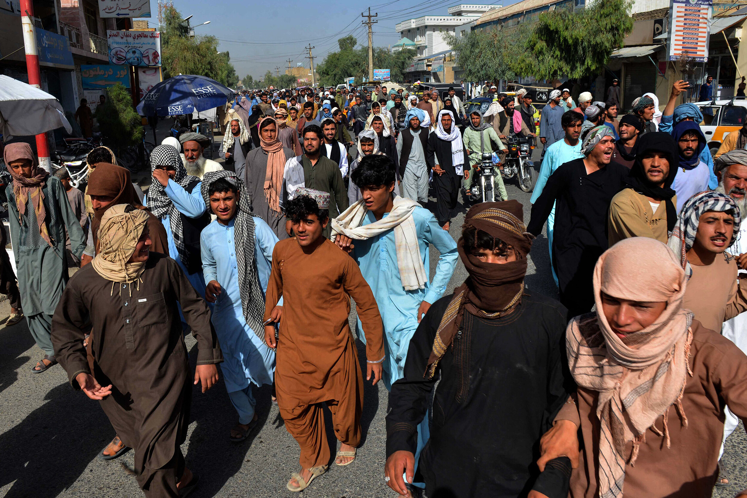 <i>Javed Tanveer/AFP/Getty Images</i><br/>Local residents march against a reported announcement by the Taliban