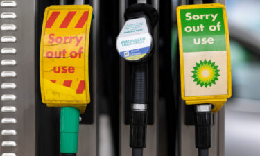 Pumps out of action at a BP petrol station on September 23 in London.