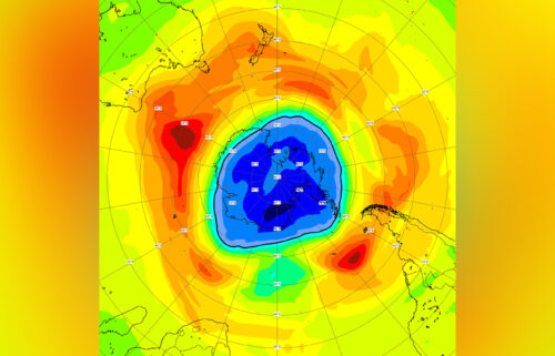 An ozone forecast chart centered on the Antarctic region. Areas colored yellow