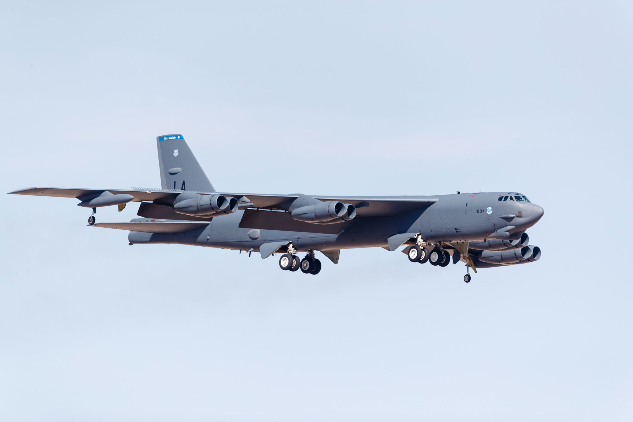 <i>Rob Edgcumbe/STKRF/AP Photo</i><br/>A file photo of a US Air Force B-52H Stratofortress on final approach to Nellis Air Force Base