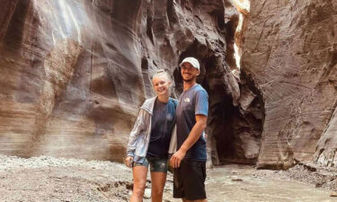 The FBI is asking for the public's help in finding Gabby Petito's fiancé Brian Laundrie after a coroner made an initial determination that Petito died by homicide.  A pictures of Gabby Petito and her fiancé before her disappearance is seen.