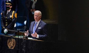US President Joe Biden delivers remarks to the 76th Session of the United Nations General Assembly on September 21.