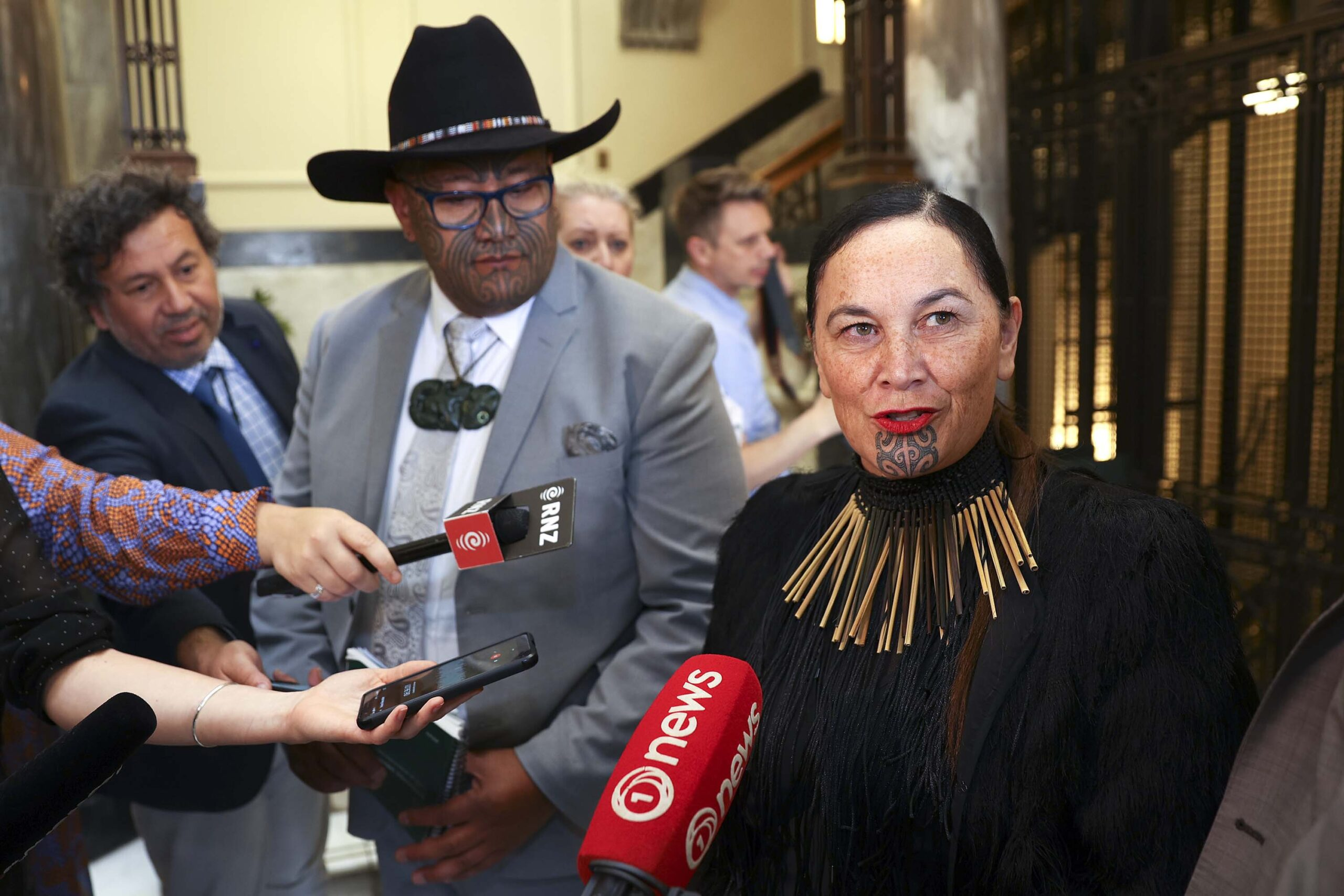 <i>Hagen Hopkins/Getty Images</i><br/>New Zealand's Māori Party campaigns to change the country's name to Aotearoa. Maori Party co-leaders Rawiri Waititi and Debbie Ngarewa-Packer here speak to the media on November 26