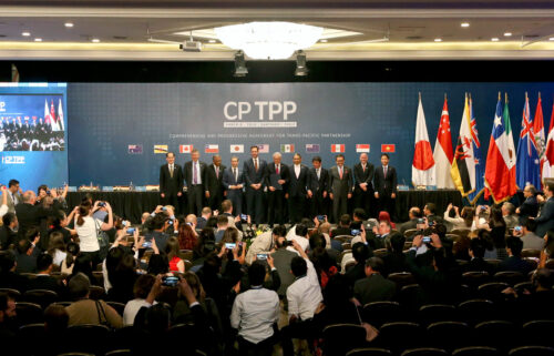 China has applied to join a major Asia-Pacific trade partnership that the United States ditched several years ago. Pictured is the signing ceremony of the Comprehensive and Progressive Agreement for Trans-Pacific Partnership in Chile in 2018.