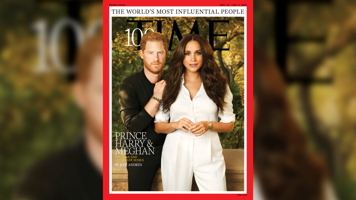 <i>TIME Magazine</i><br/>Meghan and Harry grace one of the multiple covers of Time showcasing the publication's annual list of the 100 most influential people.