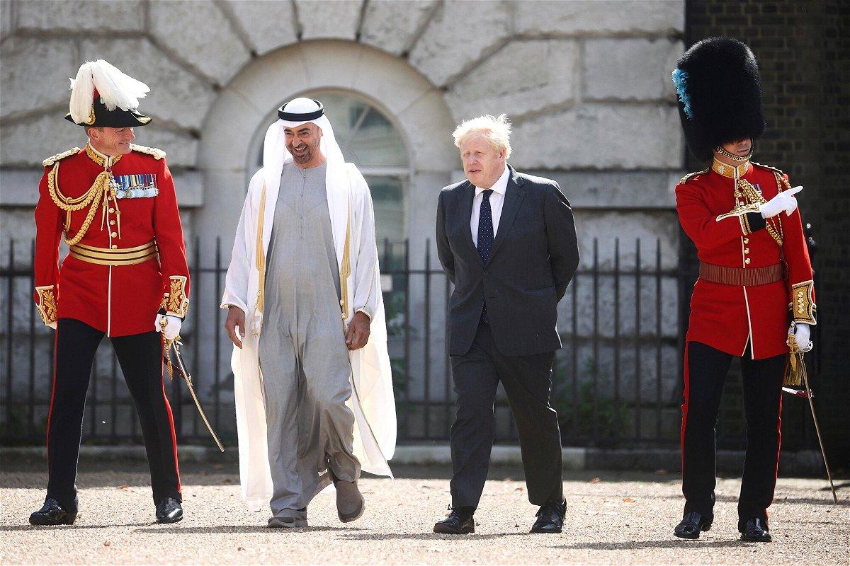 <i>Hannah Mckay/AP</i><br/>Britain's Prime Minister Boris Johnson and Abu Dhabi Crown Prince Sheikh Mohamed bin Zayed Al Nahyan in London on September 16.
