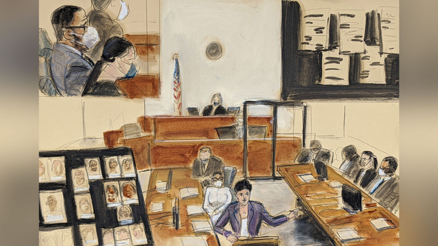 <i>Elizabeth Williams/AP</i><br/>In this illustration drawn from a video feed