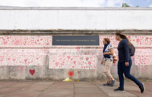 A London memorial to people who have died from Covid-19 in the UK is seen.