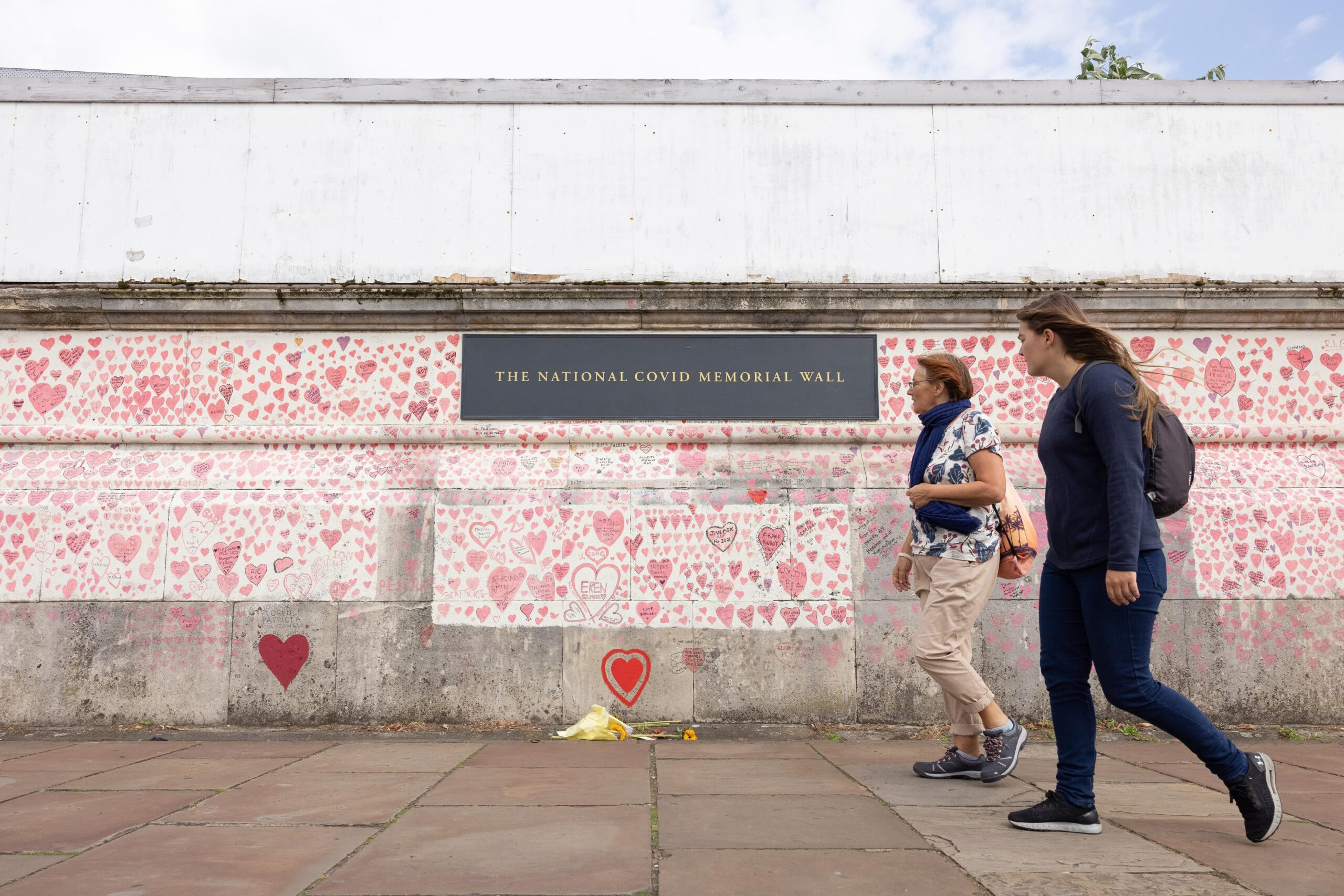 <i>Leon Neal/Getty Images</i><br/>A London memorial to people who have died from Covid-19 in the UK is seen.