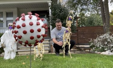A Grafton nurse practitioner and the nine skeletons on his front lawn have a message for passers-by