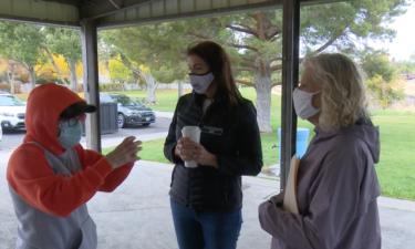 Terri Pickens Manweiler visits with Pocatello community