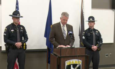 CPL. Jared Shively (left), Governor Brad Little (center), Sgt. Curt Sproat (right)