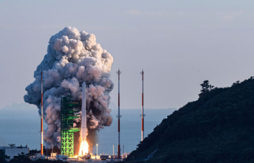 The Nuri rocket lifts off at the Naro Space Center in Goheung