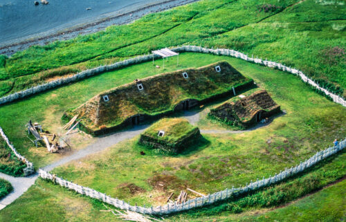 This is a reconstructed Viking Age building adjacent to the site of L'Anse aux Meadows site in Newfoundland