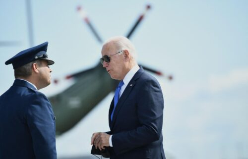 President Joe Biden hopes to use a CNN Town Hall on Thursday to help push his ambitious domestic agenda across the finish line. Biden is shown here speaking with Col. Stephen R. Gwinn