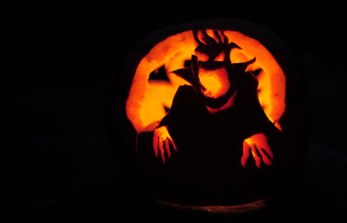 One reason we may be drawn to scary experiences is the satisfaction of conquering a threat. Pictured is a carved pumpkin in Montague