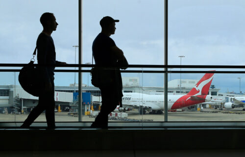 Australia officially allows vaccinated residents to travel outside the country. Pictured is the Sydney Airport on March 10
