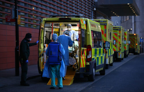 British and international authorities are closely monitoring a subtype of the Delta variant that is causing a growing number of infections in the United Kingdom. A row of ambulances in London in January is seen.