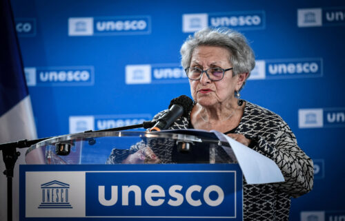 Private collector Manichak Aurance delivers a speech on October 25 at the UNESCO headquarters in Paris during a ceremony to return a Mayan artifact to Guatemala.