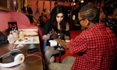 Soulja Boy is seen with Kat Von D in September 2009 in Los Angeles