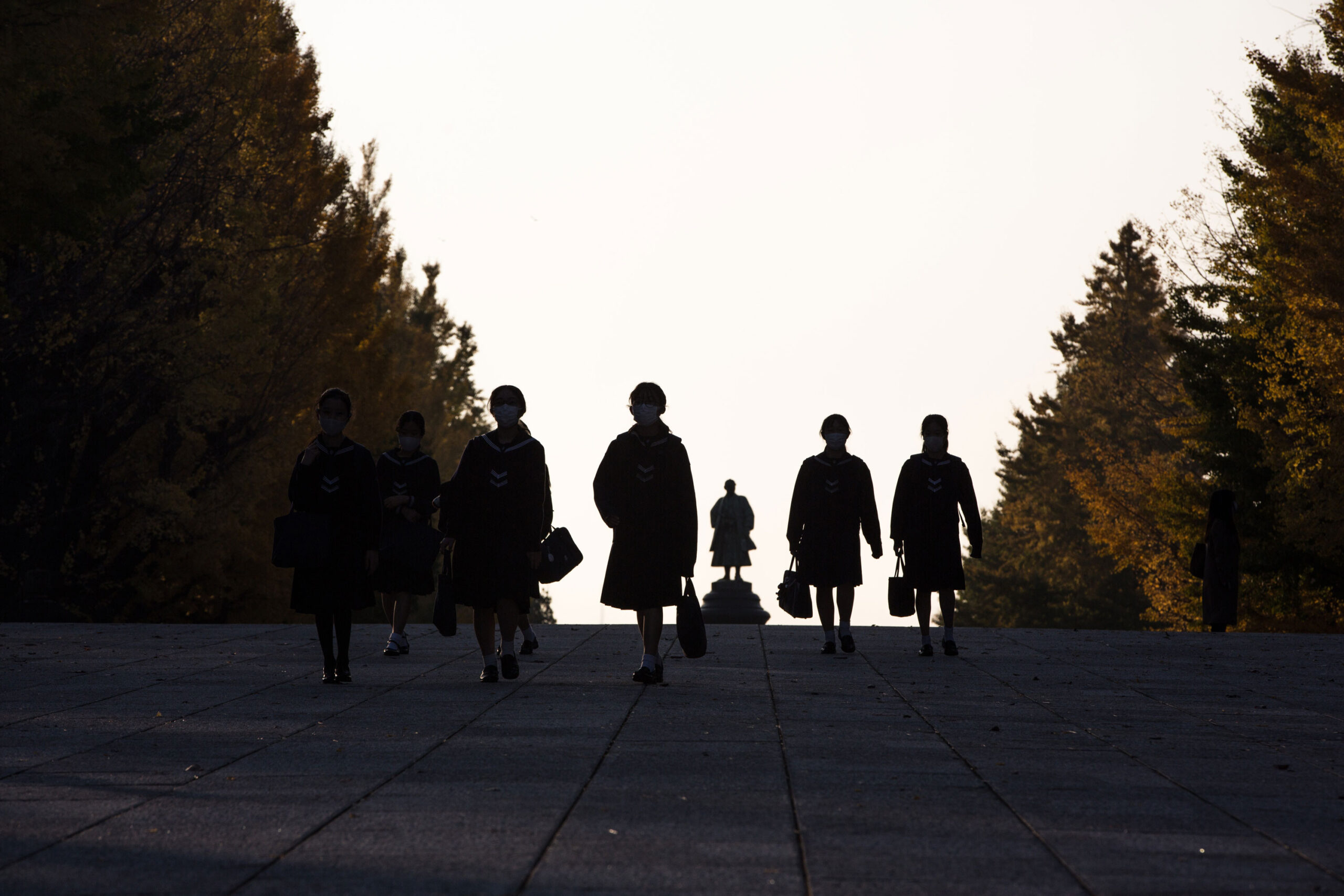 <i>Stanislav Kogiku/SOPA Images/LightRocket/Getty Images</i><br/>Suicides among Japanese schoolchildren hit a record high during the last school year. Japanese elementary school students are shown here walking home after their lessons.