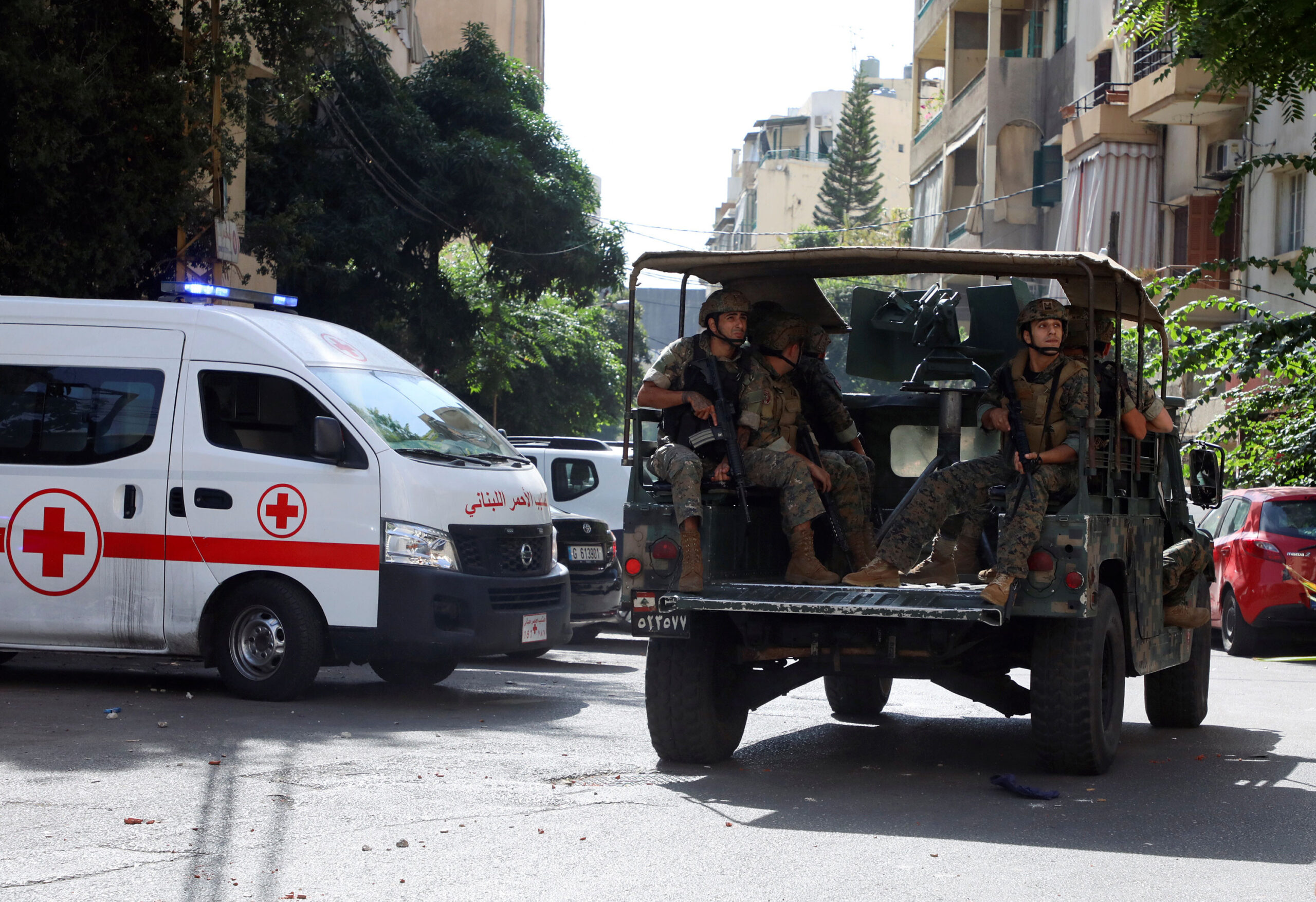 <i>Mohamed Azakir/Reuters</i><br/>The army was deployed in Lebanon's capital after heavy gunfire ahead of a demonstration.